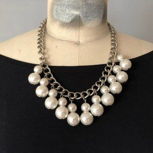 RBG Two tier Chunky pearl Collar choker Necklace